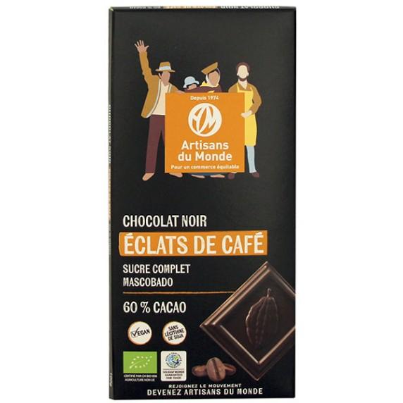 Chocolat noir éclats de café bio ét équitable