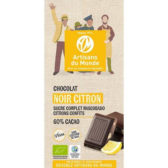 Chocolat noir citron bio et équitable