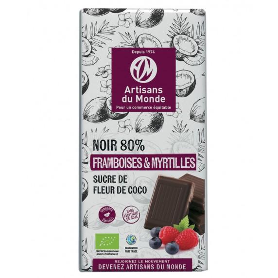chocolat noir myrtille framboise bio equitable 80%