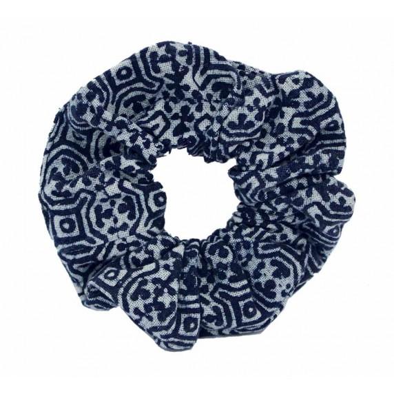 chouchou ethnique bleu