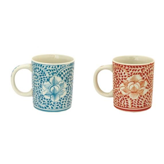 Mugs Mandala - bleu/rouge