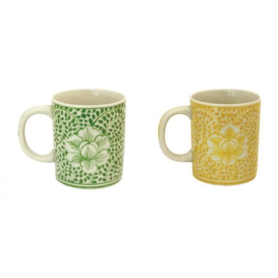 Mugs Mandala - jaune/vert