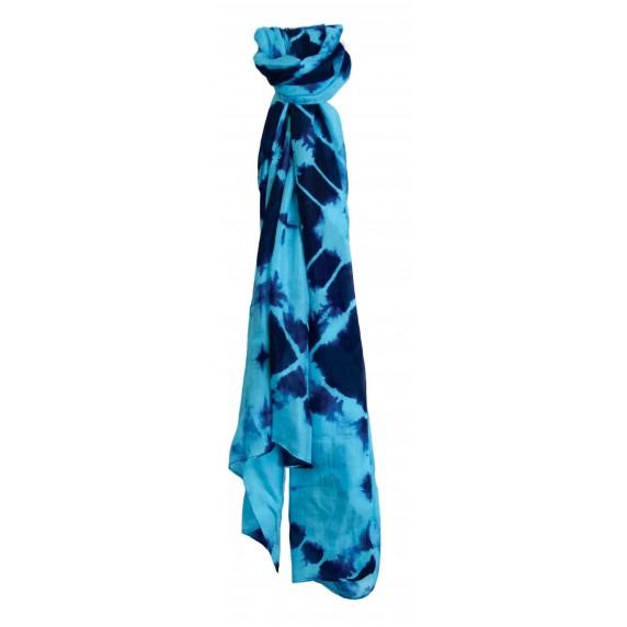 Étole en soie bleue équtable