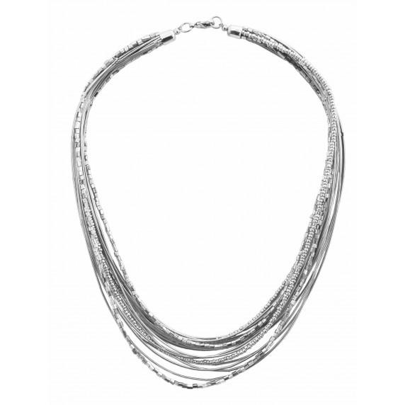collier argenté multirang