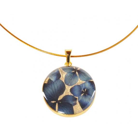 collier dore fleurs bleues