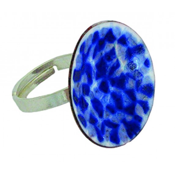 Bague Emaille Bleue - Chili