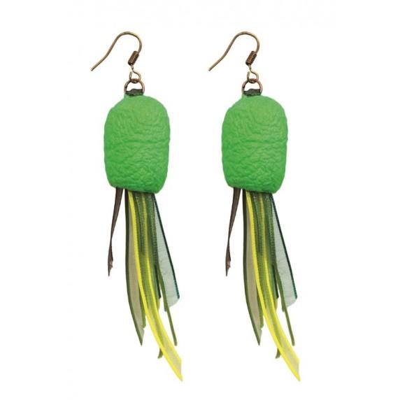 Boucles d'oreilles Cocon vertes