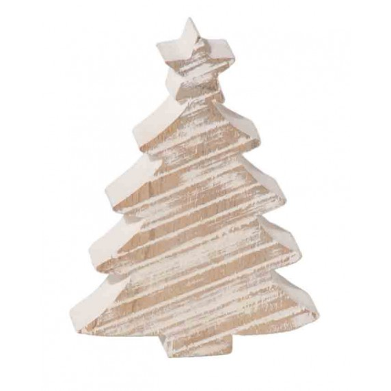 DECORATION SAPIN EN BOIS BLANC