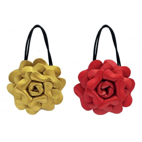 Élastiques à cheveux fleur doré et rouge