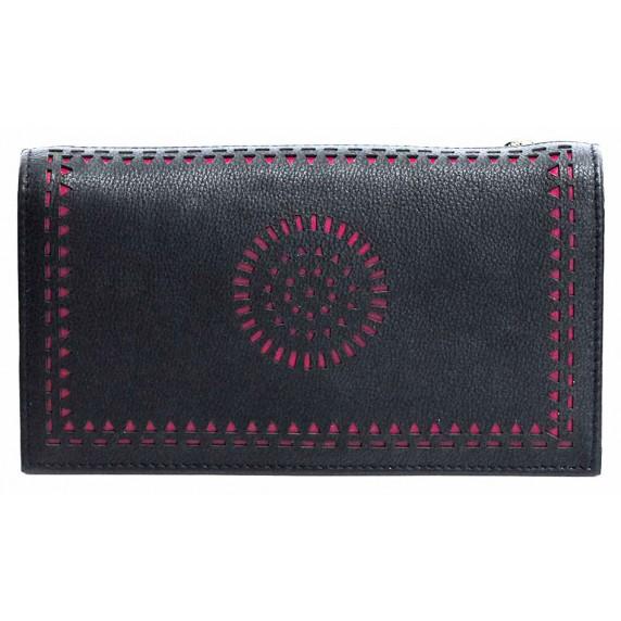 portefeuille noir cuir rose