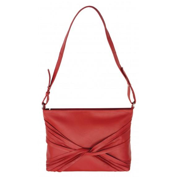 sac à main en cuir rouge noeud
