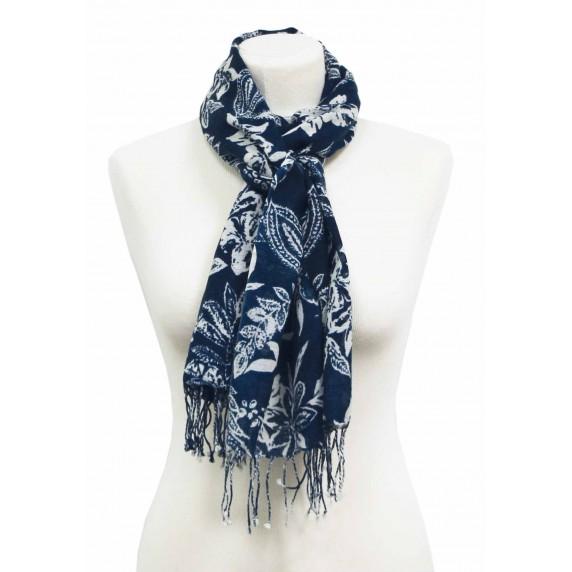 etole laine bleu blanc feuilles