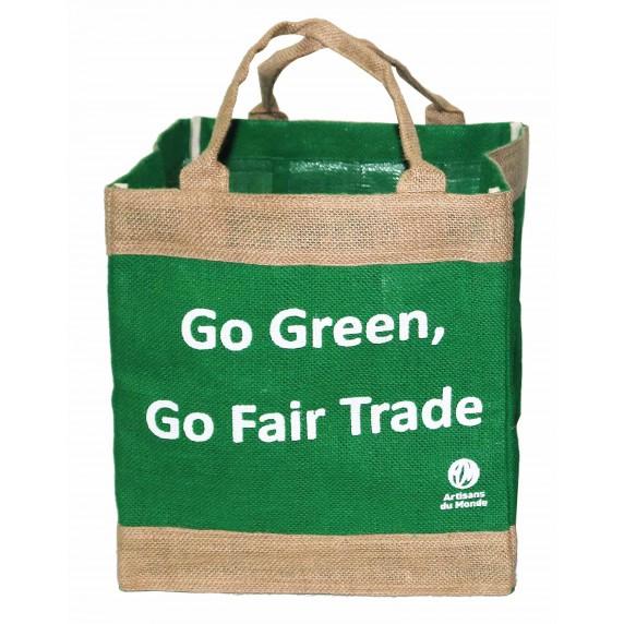 sac cabas vert jute message green