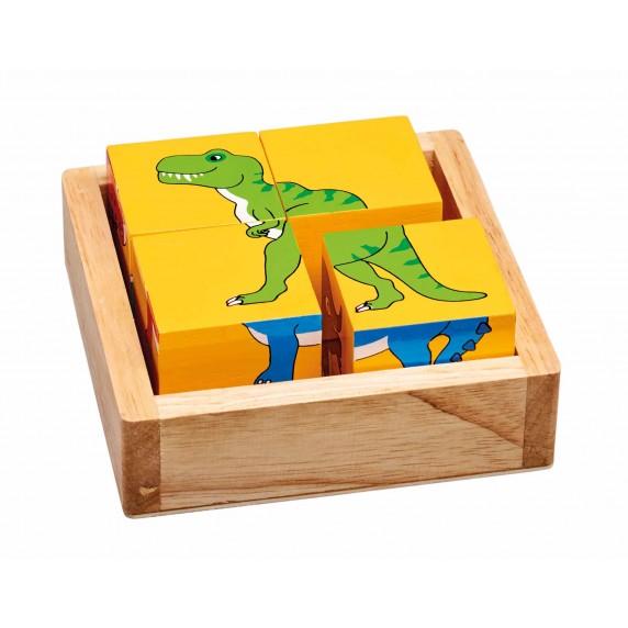 cube dinosaure en bois