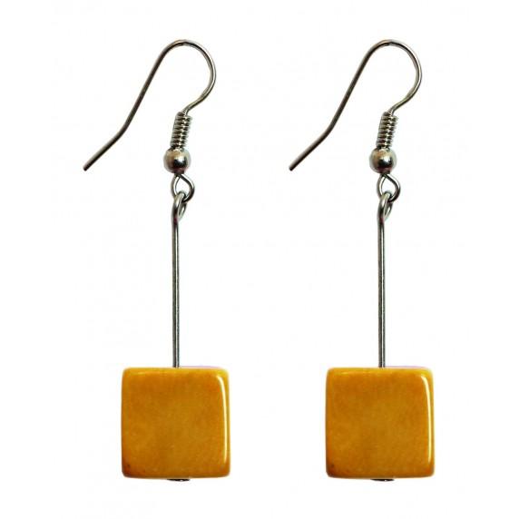 Boucles d'oreilles Cubo jaunes