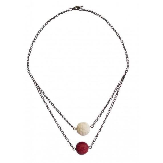 Collier multi rangs ivoire végétale rouge et blanc