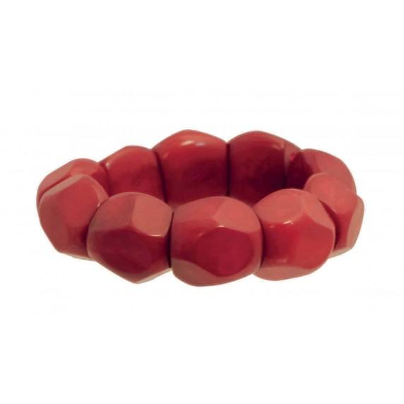 Bracelet rouge tagua ivoire végétale équitable