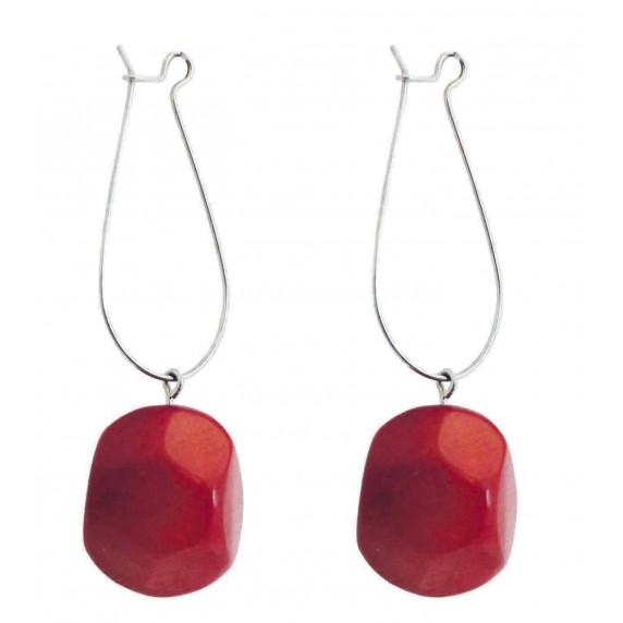 Boucles d'oreilles pendantes tagua ivoire végétale rouge