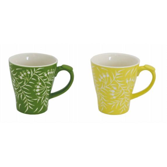 Mugs vertes et jaunes feuilles