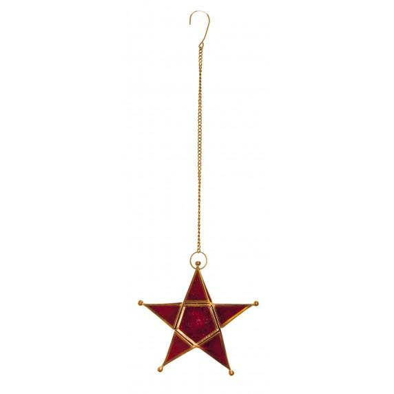 Bougeoir Étoile rouge à suspendre