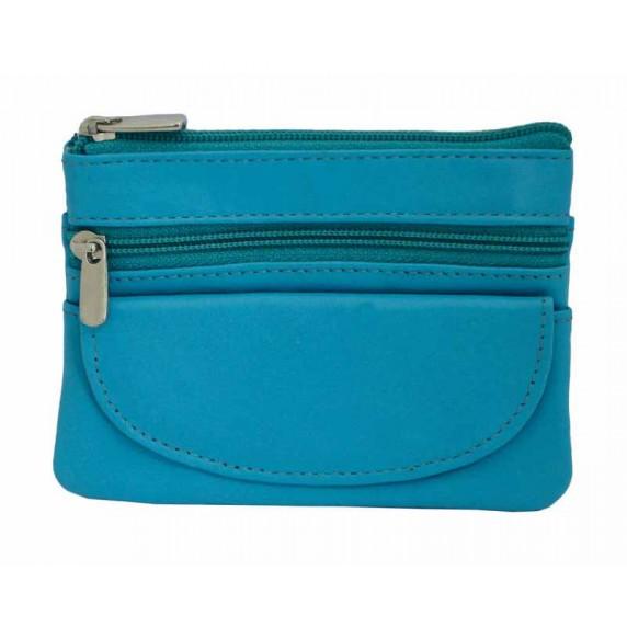 porte-monnaie bleu truquoise equitable cuir