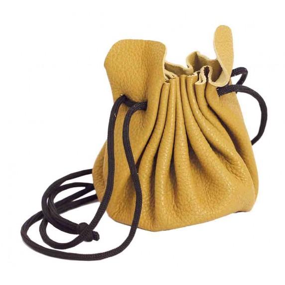 bourse cuir jaune