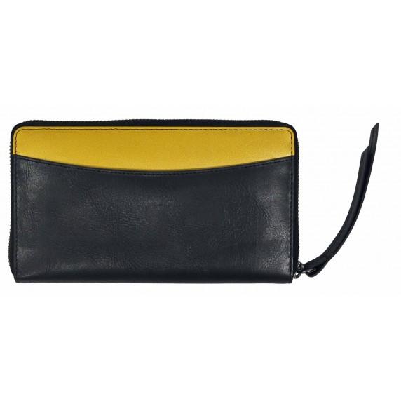 portefeuille cuir noir dore equitable