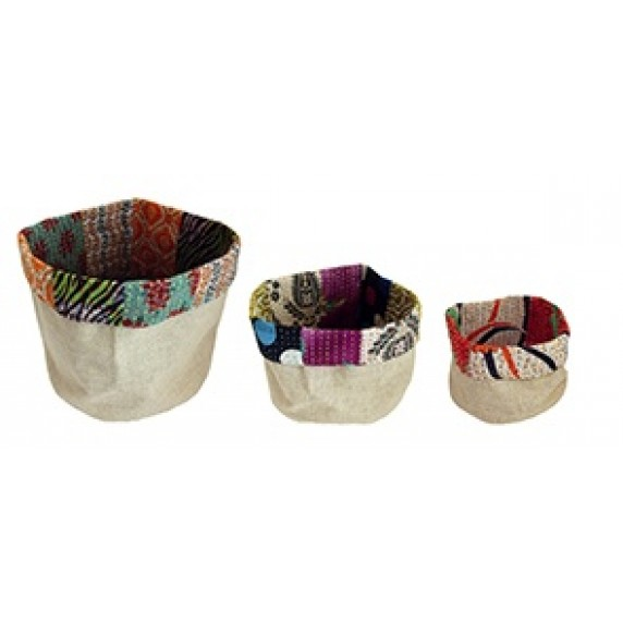 Panier en sari recyclé