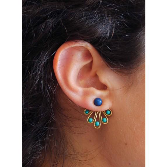 boucles oreilles paon