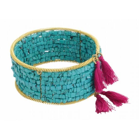 bracelet perles turquoises pompon