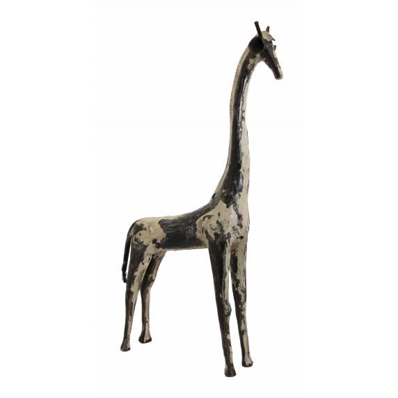 Statuette girafe métal recyclé