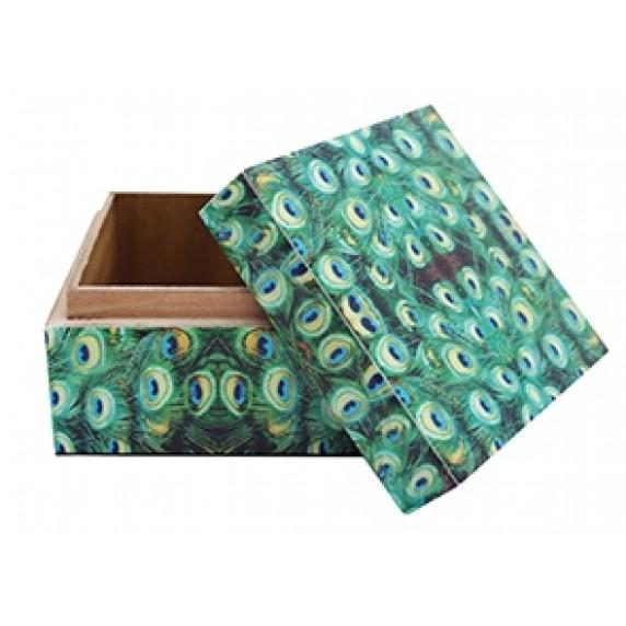 Boîte carrée Plumes de paon