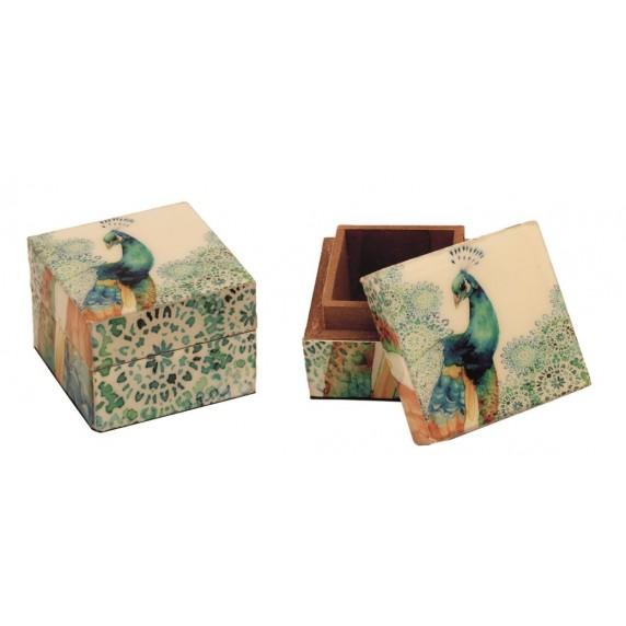 Boîte carrée Paon