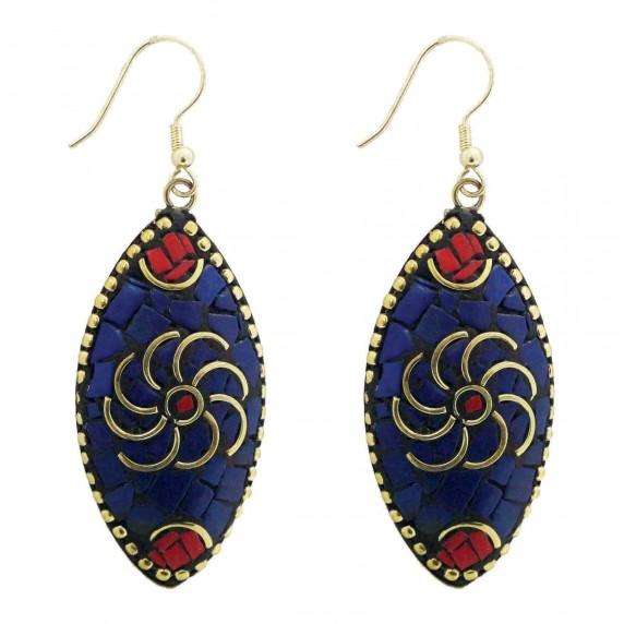 Boucles d'oreilles pendantes bleues pendantes équitables