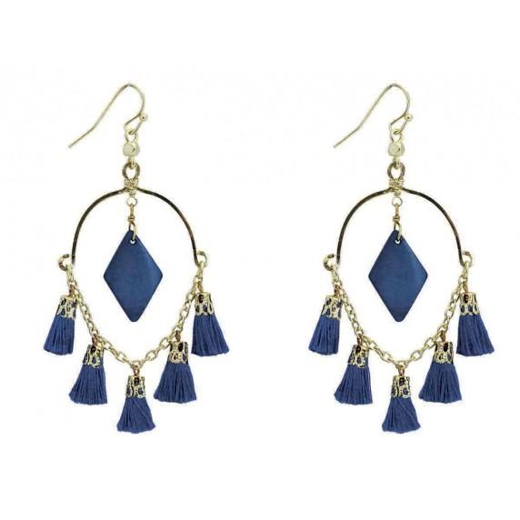 Boucles d'oreilles bleues équitables pompons