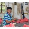 fabrication sac à main en cuir rouge noeud
