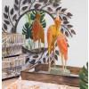 statue bois orange oiseau